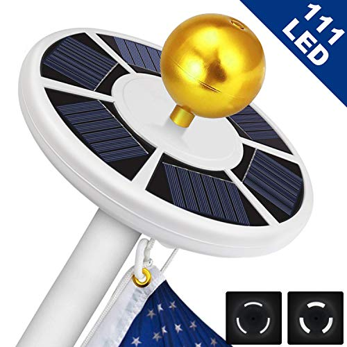 Solar Flag Pole Light 111 led Light, Super Bright Flag Pole LED, Solar Powered Flag Pole Lights for Longest Lasting Upto 10 Hrs, LED Downlight up Flag on Most 15 to 25Ft 100% Flag Coverage LED (Best Solar Flagpole Light)