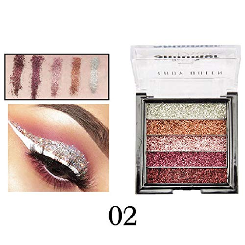 Valentine's Best Gifts for Women!!! Jumberri Sexy Shimmer Glitter 5-Color Eye Shadow Powder Palette Matte Glitter Eyeshadow Cosmetic Makeup Disc(7cmx7cmx1.8cm)