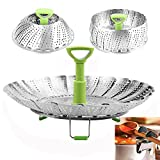 Steamer Basket Stainless Steel Vegetable Steamer Basket Folding Steamer Insert for Veggie Fish Seafood Cooking, Expandable to Fit Various Size Pot (6'' to 11''), Bonus Pot Clip Spoon Rest