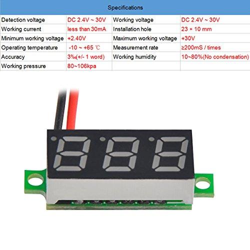 MakerFocus 5pcs Mini Digital DC Voltmeter 0.28 Inch Two-Wire 2.5V-30V Mini Digital DC Voltmeter Voltage Tester Meter 5 Colours by MakerFocus (Image #2)