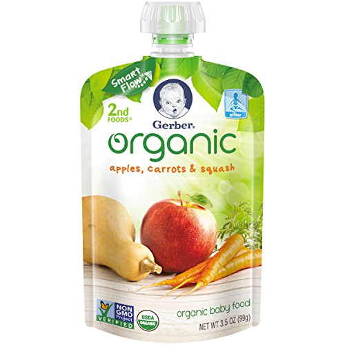 Gerber Organic 2nd Foods Pouches, Apples, Carrots, Squash, 3.5 Ounce, 12 count (Organic 2nd Foods Apple)
