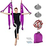 Aerial Yoga – Yoga Swing/Hammock/Trapeze Set for Antigravity Yoga Inversion Exercises Silk Fabric – 2 Extensions Straps, 4 Carabiners, 6 EVA Handles, 2 X-Mounts, and Pose Guide Included ( Purple ) Review