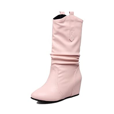 Women's Low Top Solid Pull-On Round Closed Toe Low-Heels Boots