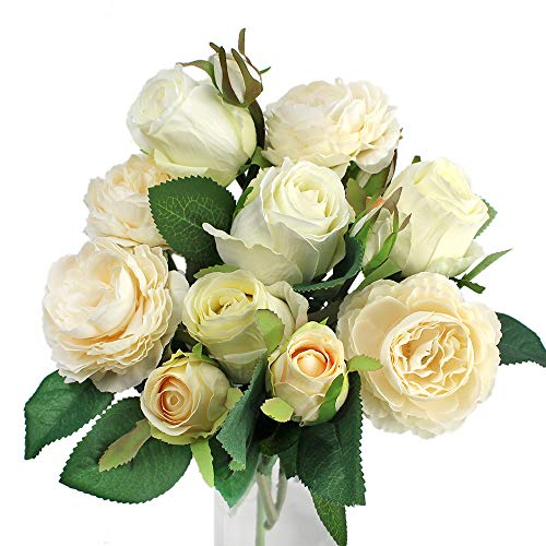 (Snail Garden 10 Heads Rose 4 Heads Peony Artificial Flowers Bouquet Artificial Silk with Stain Ribbon for Home Office Wedding Party Decoration and Festival Gift(White))