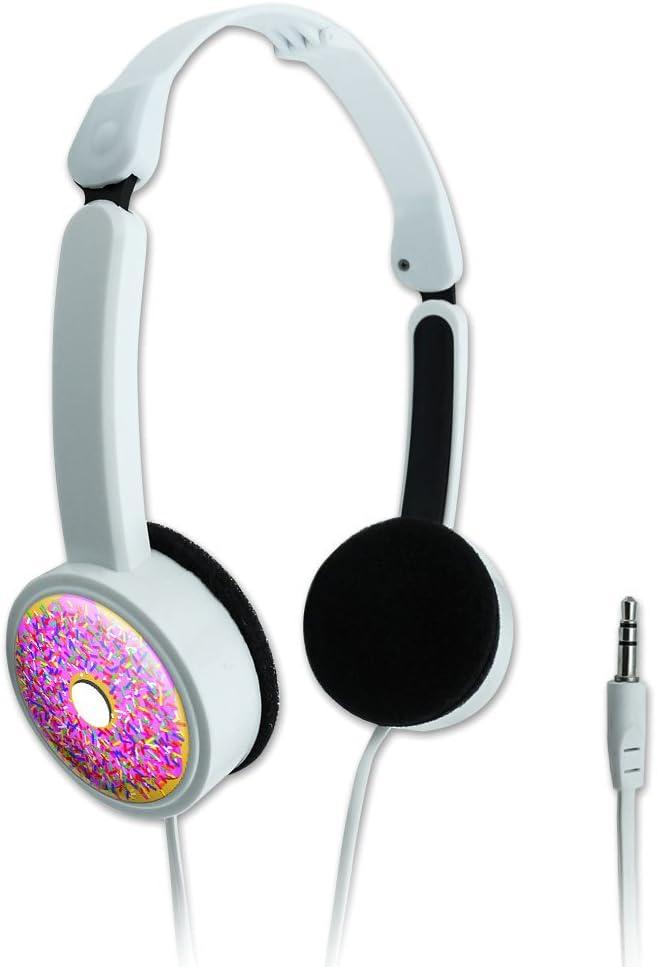 Novelty Travel Portable On-Ear Foldable Headphones Food Drink Bacon Coffee – Pink Donut Sprinkles