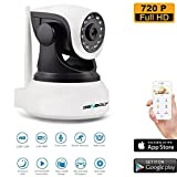 GENBOLT GB100S Wireless Wi-Fi Security Camera System 1.0MP 720P HD Pan Tilt IP Network Surveillance Webcam, Day Night Vision, Baby Monitor, Two-Way Audio, Built-in Microphone, SD Card Slot (64GB)