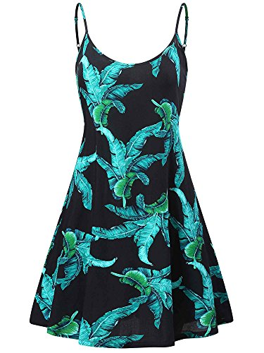 MSBASIC Black Floral Dress, Hawaiian Dresses for Women Leaf L