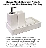 Natural marble lotion bottle mouth cup soap dish tray for home bathroom & hotel (White)