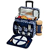 Picnic at Ascot Equipped Picnic Cooler On Wheels, Trellis Blue