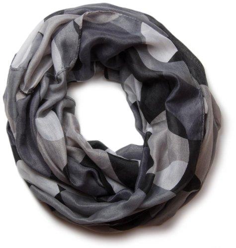 styleBREAKER Loop Schlauchschal mit großen Retro Punkten, Schal, Tuch, Unisex 01017011, Farbe:Grau-Schwarz