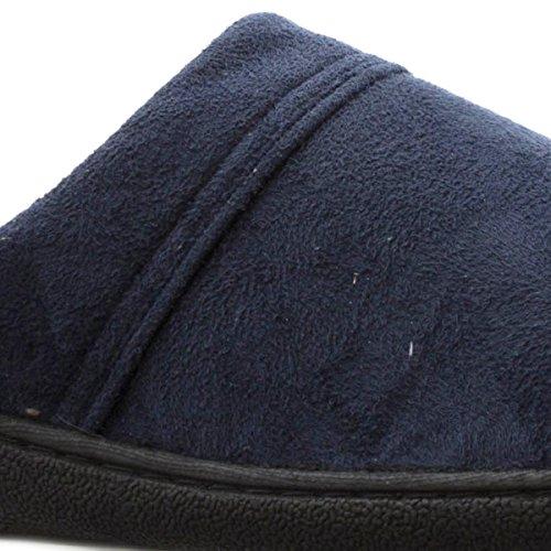 The Slipper Company - Herren Fleece Geschlossener Pantoletten-Hausschuh in Navy Blau