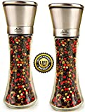 Premium Stainless Steel Salt and Pepper Grinder Set - Brushed Stainless Steel Salt & Pepper Mill 6.3 Oz Glass Tall Body, Salt and Pepper Shakers with 5 Grade Adjustable Ceramic Rotor - MadeMarle