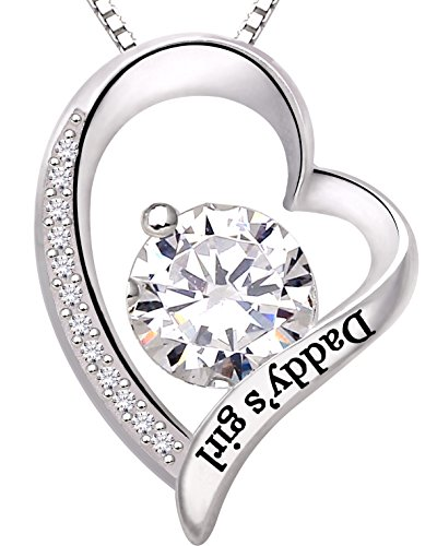 ALOV Jewelry Sterling Silver Daddys Girl Love Heart Cubic Zirconia Pendant Necklace
