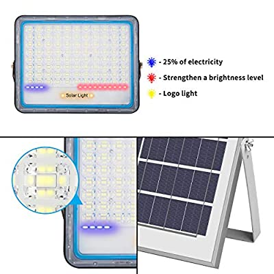 Solar Flood Lights Outdoor Waterproof Powered Spotlights with Timing Remote Control 18000mAH Battery Capacity Dusk to Dawn Long Working Solar Chargeable Powered Street Light