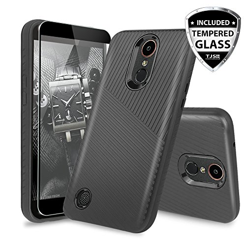 LG K20 Plus Case, LG K20 V Case, LG Harmony Case, LG Grace 4G LTE Case, with TJS [Full Coverage Tempered Glass Screen Protector] Armor Case Cover Textured Embossed Lines Hard Plastic PC TPU (Black) 4g Protector Case Cover