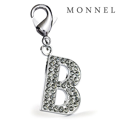 J02-E Adorable Alphabet Initial Crystal Letter B Pet Cat Dog Collar Charm