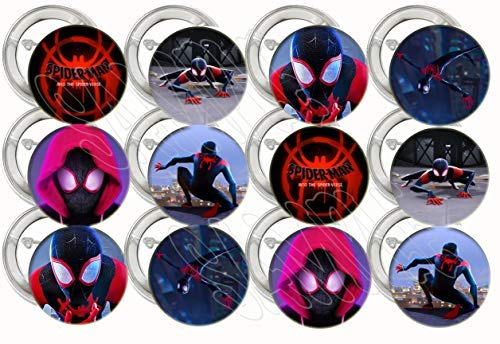"""Spiderman into The Spider-Verse Buttons Party Favors Supplies Decorations Collectible Metal Pinback Buttons Pins, Large 2.25"""" -12 pcs Avengers Marvel Comics Super Hero -"""