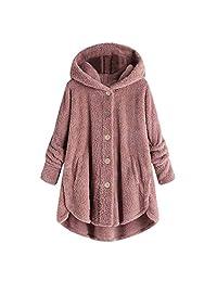 FEDULK Womens Fleece Hoodie Coat Winter Warm Button Solid Fuzzy Plush Jacket Hooded Jacket Outwear S-5XL