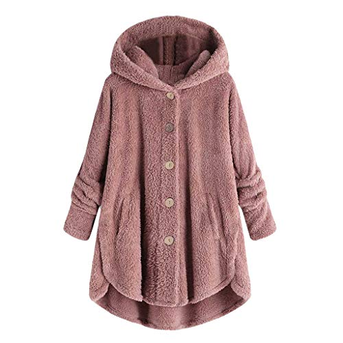 Womens Oversized Hooded Coats Warm Wool Plush Button Cardigan Hoodies Sweaters Pink