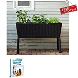 Rectangle Planter Stand Wicker Indoor Outdoor Garden Planter Tall Large Modern Rised Unique Flower Pot Planter Brown & eBook by AllTim3Shopping