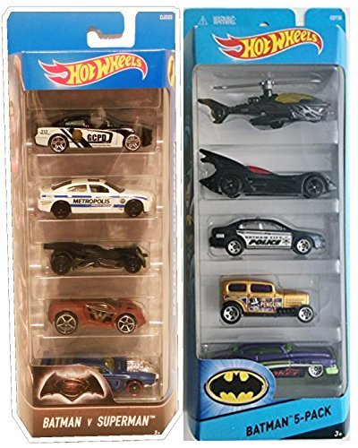 Hot Wheels Batman & Batman vs Superman 5-Pack Bundle (Homer Simpson Muscle)