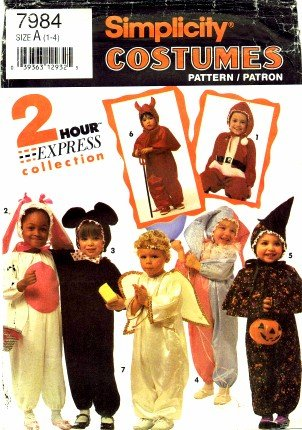 Simplicity 7984 Sewing Pattern Toddlers Costumes Santa Bunny Angel Jester - Jester Costume Pattern