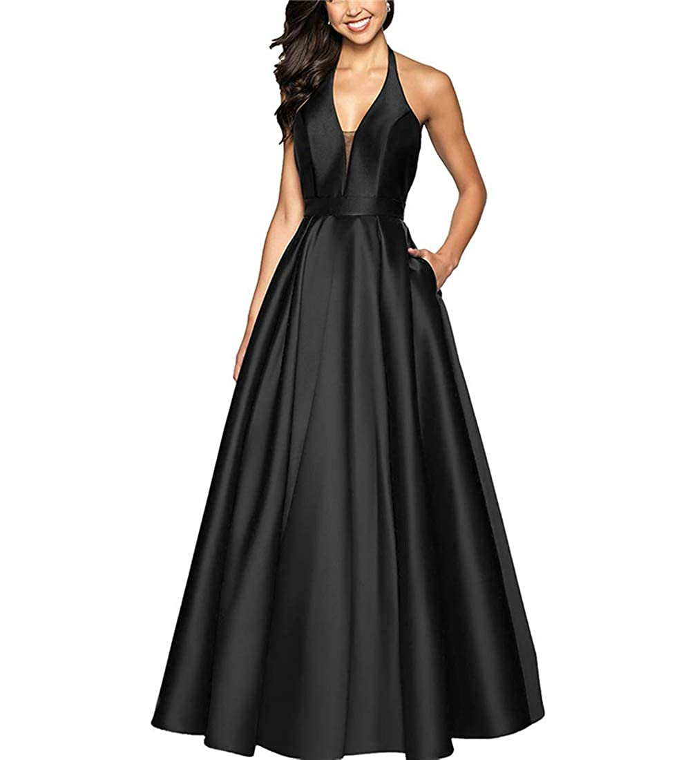 Black Stylefun Women's Aline Halter Floor Length Prom Dress Long Formal Evening Gown with Pockets XIN038