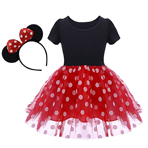 Baby Girl Mouse Costume Tutu Dress Polka Dot Princess Tulle Fancy Dress Up Party Birthday Halloween with Ears Headband Tag No 120/3-4 Years]()
