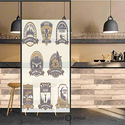 3D Decorative Privacy Window Films,Shield Icons Set Hunt Sports Club Emblems and Labels with Animals Decorative,No-Glue Self Static Cling Glass film for Home Bedroom Bathroom Kitchen Office 17.5x48 In