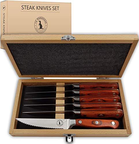 Steak Knife Set in Gift Box by La Mongoose. 6
