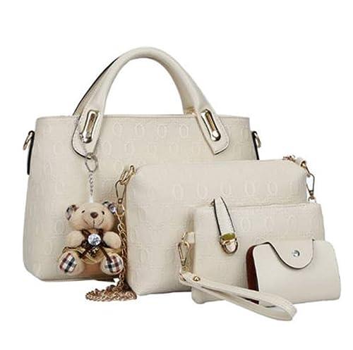 71daa7cf6d46 Amazon.com  Women s Handbag Top Handle Satchel Shoulder Tote Bag Purse Set  4PCS Versatile Leather Handbag Wallet (Beige)  Shoes