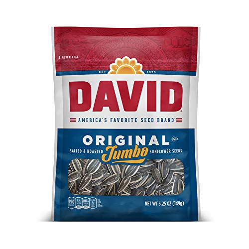 DAVID Roasted and Salted Original Jumbo Sunflower Seeds, Keto Friendly, 5.25 Oz, 12 Pack 1