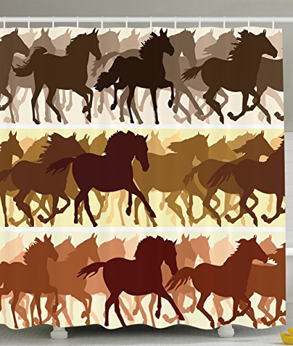 Western Bath Decor (Ambesonne American Western Country Decor Collection, Horses Racing Abstract Design Art Print, Polyester Fabric Bathroom Shower Curtain Set with Hooks, Brown Yellow Black)