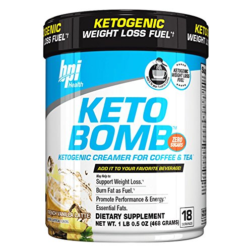 BPI Sports Keto Bomb Ketogenic Creamer for Coffee and Tea, French Vanilla Latte, 18 Servings