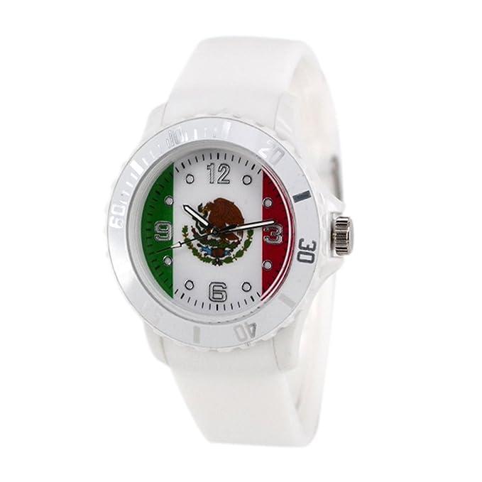 Reloj con la bandera de México con pulsera de Silicona