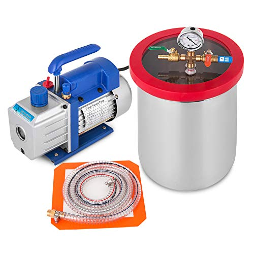 Bestauto 3 Gallon Vacuum Chamber 4 CFM Single Stage Pump 3-Gallon Silicone Expoxy Degassing Kit