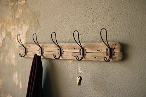"Entryway Rustic Style 5 Hook Wall Mount Wooden Coat Rack, Brown, Large, 26"" x 5.5"""