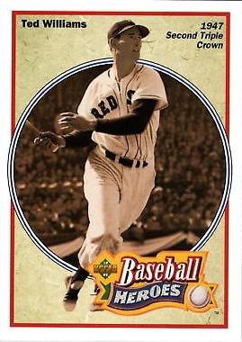 (1992 Upper Deck Baseball Heroes #32 Ted Williams Card - Wins Triple Crown in 1947)