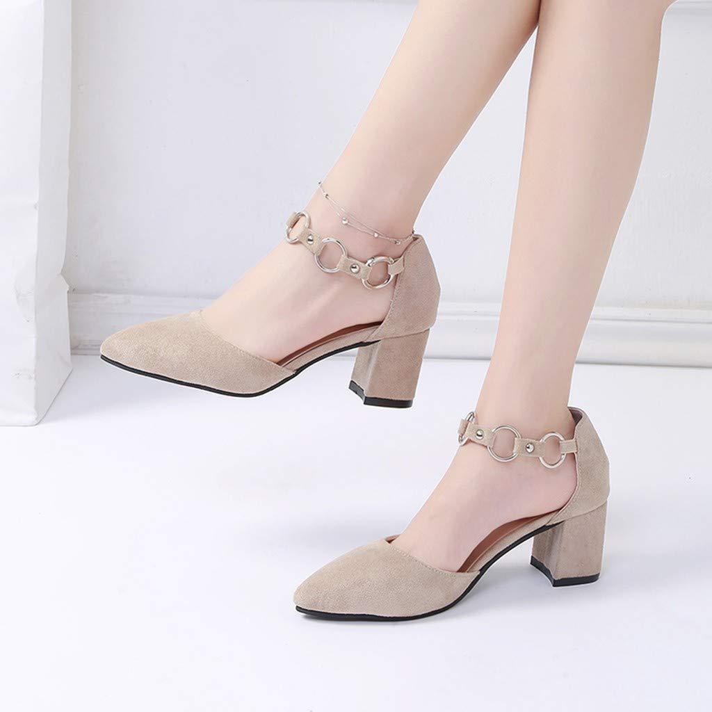 Darringls_Zapatos para Mujer,Sandalias Las Mujeres de Moda Med Thick Metal Tobillo único Dedo del pie Puntiagudo Partido Zapatos Casuales: Amazon.es: Ropa y ...