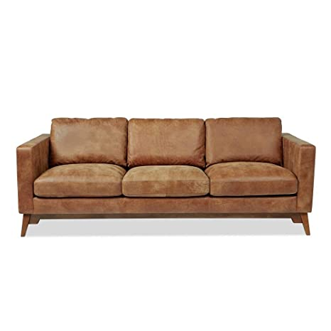 Amazon.com: Rustic 89-inch Tan Leather Sofa: Kitchen & Dining
