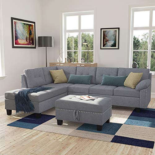 (Harper&Bright Designs Sectional Sofa Set with Chaise Lounge and Storage Ottoman Nail Head Detail (Grey))
