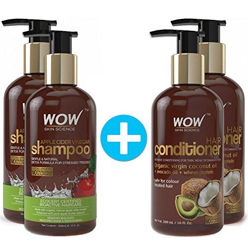 a990e8b20b1 WOW Apple Cider Vinegar Shampoo + WOW Hair Conditioner Set (10fl.oz each) -  No Sulphates or Parabens (2 Pack Combo)