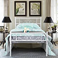 SimLife Twin Size Metal Bed Frame with Headboard and Footboard Mattress Foundation Platform Bed for Kids Boys Adult No Box Spring Needed Princess Bed White