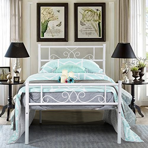 (SimLife Platform Kids Boys Adult No Box Spring Needed Princess White Twin Size Metal Bed Frame with Headboard and Footboard Mattress Foundation)