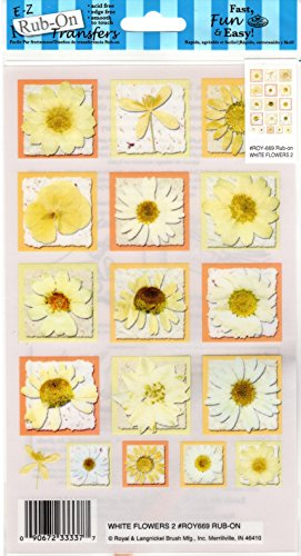 - White Flowers #2 Rub-ons for Scrapbooking (ROY669)