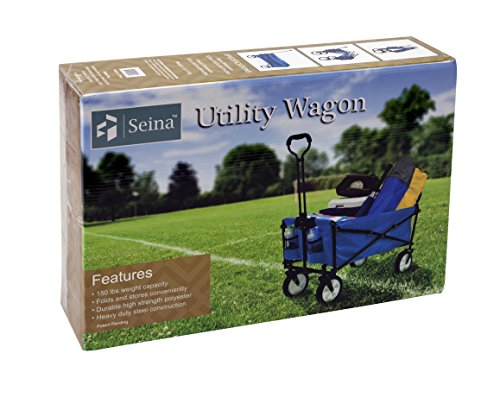 Seina Collapsible Folding Utility Wagon Garden Cart Shopping Beach Outdoors, Blue