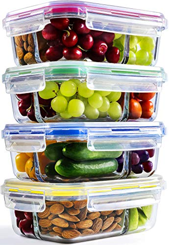 (Glass Meal Prep Containers - 4-Pack 35 Oz. 3 Compartment Bento Box Lunch Containers | Bento Lunch Box Portion Control Containers | 3 Compartment Food)
