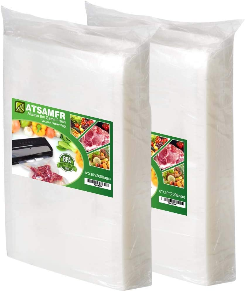 ATSAMFR 200 Pint Size 6x10Inch Vacuum Sealer Food Saver Bags with BPA Free,Heavy Duty,Great for Vac storage or Sous Vide Cooking
