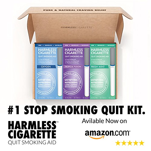Easy Way To Stop Smoking/Harmless Cigarette Quit Smoking Kit/Help To Satisfy Cravings Naturally/Works Perfect With Nicotine Patches, Nicotine Gum, Lozenges, Smoking Cessation Medication