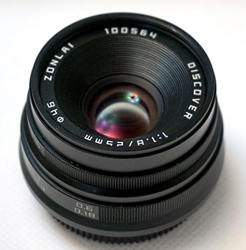 ZONLAI 25mm F1.8 Discover Manual Focus Lens Black for Fujifilm XF Mount Camera